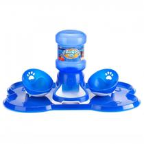 Kit Bebedouro Automatico + 2 Comedouros para Pet Azul  Truqys -