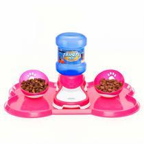 Kit Bebedouro Automatico + 2 Comedouros para Pet Rosa  Truqys -