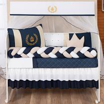 Kit Berço Americano Coroa Luxo Príncipe Azul Marinho Menino Completo 12 peças com saia de berço - L2M