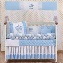 Kit Berço Americano Coroa Principe Azul Menino 12 peças com Saia berço Brinde almofada - L2M