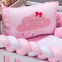 Kit Berço Americano Menina Nuvem Rosa com Trança e Almofadas 09 Peças - Zany Baby