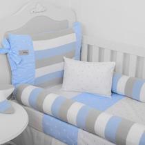 Kit berço americano rolinho cia do neném classic tricot azul bebê 10 peças ref.6030 04 - minasrey -