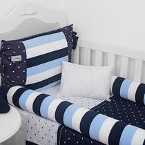 Kit berço americano rolinho cia do neném classic tricot azul marinho 10 peças ref.6030 18 - minasrey -