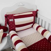 Kit berço americano rolinho cia do neném classic tricot vinho 10 peças ref.6030 17 - minasrey -