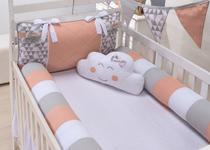 Kit berço Americano Rolinho Triângulo Rosé 7 Peças - Bebê Enxovais