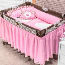 Kit Berço Desmontável Princesa Rosa 09 Peças - Zany Baby
