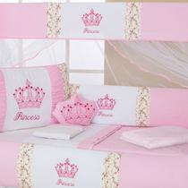 Kit Berço Menina Princesa Rosa Com Almofada - 10 Peças - Empório Casa Enxovais