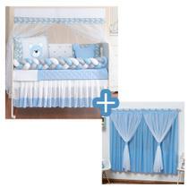 Kit Berço Padrão Trançado Completo Urso Baby Azul Menino 11 + Cortina Voal Varão Simples - L2M