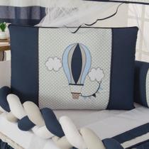 Kit Berço Trança Menino Menina Balão Azul Marinho 10 Peças - Empório Casa Enxovais