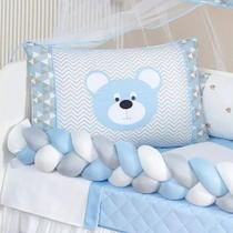 Kit Berço Trançado Urso Menino Azul 11 Peças Lençol Extra Kit baby azul - Home Baby Enxovais