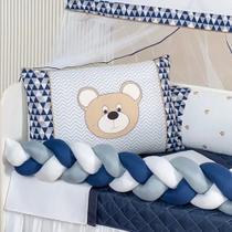 Kit Berço Trançado Urso Menino Azul 11 Peças Lençol Extra Kit baby marinho - Home Baby Enxovais