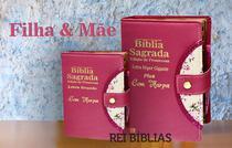 Kit Bíblia Sagrada Botão - Filha & Mãe - C/ Harpa - Hipergigante 14x21cm + Grande 12x16cm - Rei Das Biblias