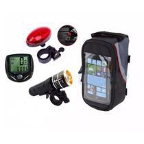 Kit Bike Acessórios Velocimetro Lanterna e Pisca Case G Cel Jws