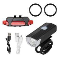 Kit Bike Bicicleta Farol E Lanterna Sinalizador Recarregável - Raypal