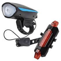 Kit Bike Farol buzina Lanterna + Sinalizador traseiro Recarregável - DEFQUAL