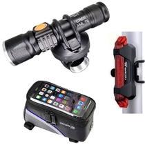 Kit Bike Farol Lanterna Sinalizador Recarregável via USB Bolsa de Quadro - Bing