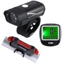 Kit Bike Farol Lanterna Sinalizador Recarregável via USB Velocímetro - Bing