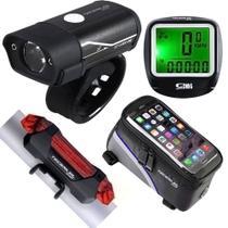 Kit Bike Farol Lanterna Sinalizador Recarregável via USB Velocímetro Bolsa de Quadro - Bing