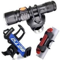 Kit Bike Farol Lanterna Sinalizador Traseiro Suporte Garrafas Squeeze - Bing
