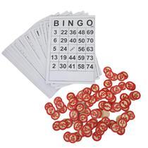 kit bingo, 40 cartelas e 75 marcadores de madeira - Onix - onixy imp exp