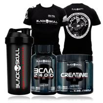 Kit Black Skull Creatina 150g + Bcaa 100cáps + Camiseta Bope
