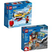 Kit Blocos De Montar Lego Com City Aviao Com 74 Peças + City Unidade De Caes Policiais 67 Peças -