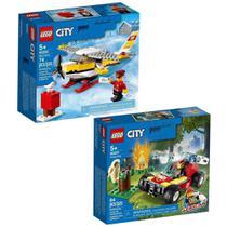 Kit Blocos De Montar Lego Com City Aviao Correio 74 Peças + CIity Floresta Em Chamas 84 Peças -