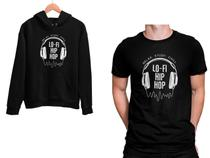 Kit Blusa Moletom Lo-FI Hip Hop e Camiseta Preto Unissex - Mikonos
