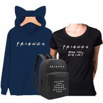 Kit Blusa Moletom Orelhinha Série Tv Friends + Babylook Friends How You Doin + Mochila Friends Personagens Azul Preto - Smart Stamp