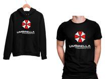 Kit Blusa Moletom Umbrella Corporation e Camiseta Preto Unissex - Mikonos