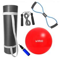 Kit Bola 45cm Pilates + Colchonete 1m + Extensor em Oito Forte + Corda Pular  Mandiali -