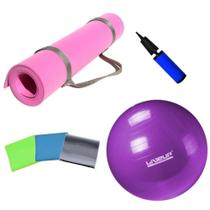 Kit Bola 55cm + Colchonete Eva Rosa + Kit 3 Faixas Elasticas Yoga Pilates  Mandiali -