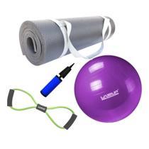 Kit Bola 55cm Pilates + Colchonete 1m Eva Preto + Extensor em Oito Tensao Media  Mandiali -