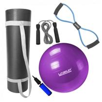 Kit Bola 55cm Pilates + Colchonete 1m + Extensor em Oito Forte + Corda Pular  Mandiali -
