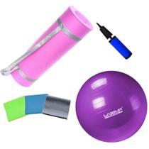 Kit Bola 55cm Pilates + Colchonete Eva Rosa 10mm + Kit 3 Faixas Elasticas Yoga  Mandiali -