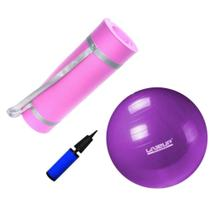 Kit Bola 55cm Pilates + Colchonete Eva Rosa 10mm  Mandiali -