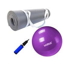 Kit Bola 55cm Pilates + Colchonete Tapete 1m Eva Preto 10mm  Mandiali -