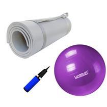 Kit Bola 55cm Pilates + Colchonete Tapete Eva Cinza 10mm  Mandiali -
