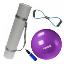 Kit Bola 55cm Pilates + Colchonete Tapete Eva com Alca + Extensor Forte  Mandiali -