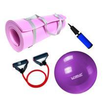 Kit Bola 55cm Pilates + Tapete Eva 1,70m Rosa + Extensor Elastico Super Forte  Mandiali -