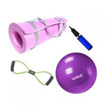 Kit Bola 55cm Pilates + Tapete Eva 1,70m Rosa + Extensor em Oito Tensao Media  Mandiali -