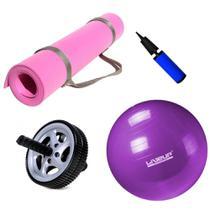 Kit Bola 55cm Yoga e Pilates + Colchonete Eva Rosa + Roda Abdominal  Mandiali -