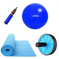 Kit Bola 65 Cm + Bomba + Tapete Colchonete + Roda de Exercicio  Liveup -