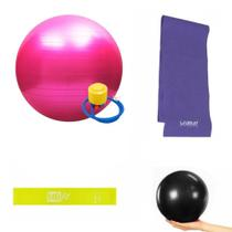 Kit bola 65cm c/bomba + mini band + faixa + overball pilates - Kit Dmxfit