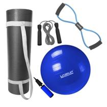 Kit Bola 65cm Pilates + Colchonete 1m + Extensor em Oito Forte + Corda Pular  Mandiali -