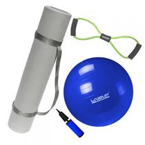 Kit Bola 65cm Pilates + Colchonete Tapete Eva com Alca + Extensor Medio  Mandiali -