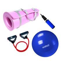 Kit Bola 65cm Pilates + Tapete Eva 1,70 M + Extensor Elastico Super Forte  Mandiali -