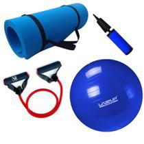 Kit Bola 65cm Pilates Yoga + Tapete Eva + Extensor Elastico Super Forte  Mandiali -