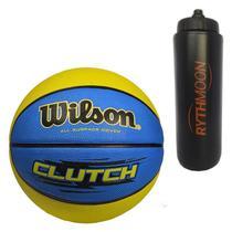 Kit Bola Basquete Clutch Wilson Azul/Verde Limão + Squeeze Automático 1lt - Rythmoon