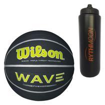Kit Bola de Basquete Wave Phenom 7 Wilson Preto/Verde limão + Squeeze Automático 1lt - Rythmoon